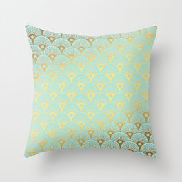 Art Deco Mermaid Scales Pattern on aqua turquoise with Gold foil effect Throw Pillow