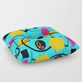 retro geometric  abstract design  blue Floor Pillow