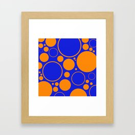 Bubbles And Rings In Orange And Blue Framed Art Print