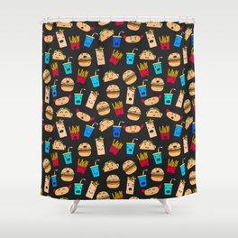 Kawaii Fast Food Burger Fries Taco Pattern Black Shower Curtain