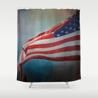 american flag Shower Curtains featuring American Flag by Jai Johnson