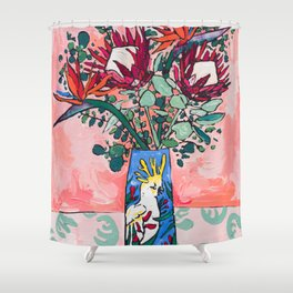 Cockatoo Vase on Painterly Pink Shower Curtain