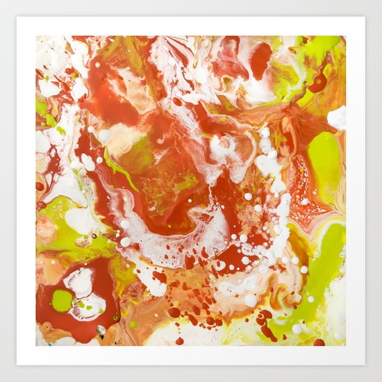Color Commentary #8: Canteloupe, Honeydew (Bright Yellow Green & Orange) [Marilyn Fenn] Art Print