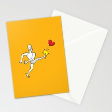 Mad Man Kicking a Heart Stationery Cards