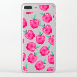 Pink turquoise watercolor apples back to school pattern Clear iPhone Case