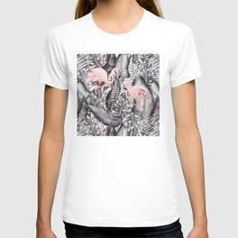 Flamingo Love - Watercolor Birds in Pink and Gray color T-shirt