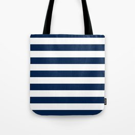 Slate Blue and White Stripes  - Navy Nautical Pattern Tote Bag