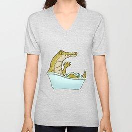 Bathtub crocodile Unisex V-Neck