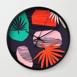 Dank - memphis style 80's throwback neon shape palm house plant retro vintage decor hipster art Wall Clock