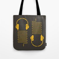 deadmau5 Tote Bags featuring Gold Headphones by Sitchko Igor
