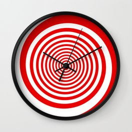 Red and White Spiral Wall Clock