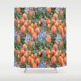 Paint by Number Tulip n Forget Me Nots Field Shower Curtain
