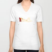 sofa V-neck T-shirts featuring Young on sofa by Alfonso Costanza