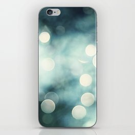 Teal Abstract Sparkle Photography, Turquoise Sparkly Lights Photo, Aqua Bokeh Print iPhone Skin