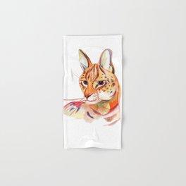 Serval wild cat watercolor Hand & Bath Towel