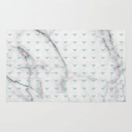 White Marble Abstract Mint Green Triangle Patten Rug