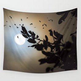 Bats in a Full Moon on Halloween Wall Tapestry
