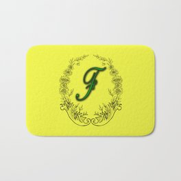 the letter F in a leaves and flowers . Art Bath Mat