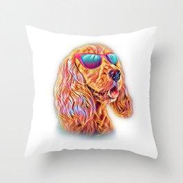 Cocker Spaniel Neon Dog Sunglasses Throw Pillow