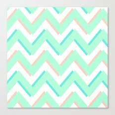 3D CHEVRON MINT/PEACH/TEAL Canvas Print