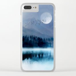 Mountainscape Under The Moonlight Clear iPhone Case