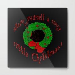 Cosy cat Christmas Metal Print
