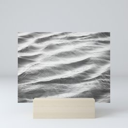 Black and White Water Ripple Photography, Grey Ocean Ripples, Gray Neutral Sea Waves, Seascape Wave Mini Art Print