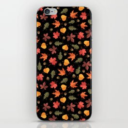 Autumn Leaves Pattern Black Background iPhone Skin