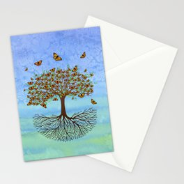 Tree of life with butterflies Stationery Cards