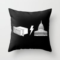 dc Throw Pillows featuring Literal AC/DC by Phil Jones