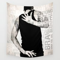 super hero Wall Tapestries featuring Brave Super Hero by Petra Heitler