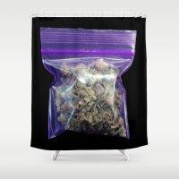 cannabis Shower Curtains featuring gram of cannabis by HiddenStash Art