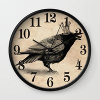 raven Wall Clocks featuring Raven by Anna Shell