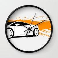 lamborghini Wall Clocks featuring Lamborghini Gallardo Vector   by Kaivan Askari