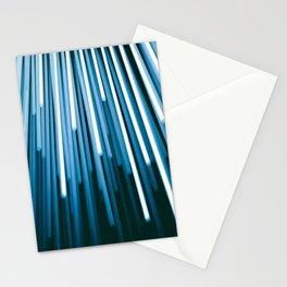 Hyperspace Fiber Optics Blue white Streaks Of Light Stationery Cards