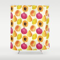 fruits Shower Curtains featuring Fruits by Alexandra Dzh