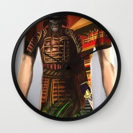 Samurai bodysuit tattoo design Wall Clock