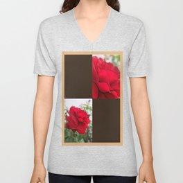 Red Rose Edges Blank Q3F0 Unisex V-Neck