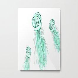green jellyfish watercolor Metal Print