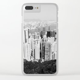 Hong Kong Cityscape // Sky Scraper Skyline Landscape Photography Black and White Buildings Clear iPhone Case