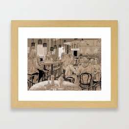 Three Bags Full Cafe Framed Art Print