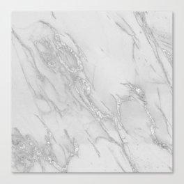 Marble Love Silver Metallic Canvas Print
