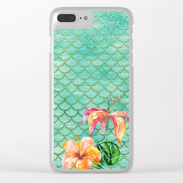 Mermaid scales and tropical flowers Clear iPhone Case