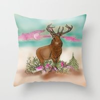 elk Throw Pillows featuring Elk by Hollyce Jeffriess Designs
