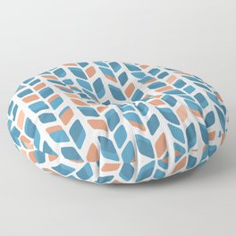 Mid Century Modern Minimalist Leaf Pattern of Stripes in Terracotta Orange and Turquoise Teal Blue Floor Pillow