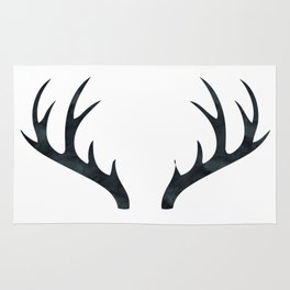 Antlers Black and White Rug
