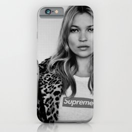 Kate Moss old digitally manipulated black an white photo iPhone Case