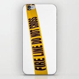 fire line tape on crime scene iPhone Skin