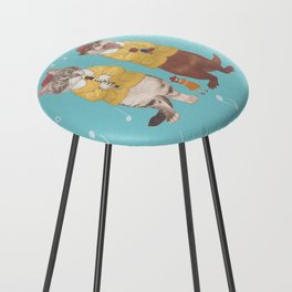 A GIRL WITH CAT and OTTER wide Counter Stool
