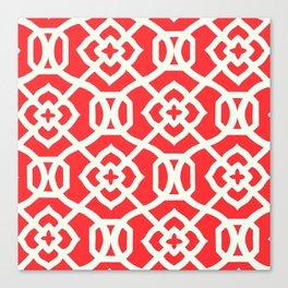 Moroccan Lattice~Red & White Canvas Print